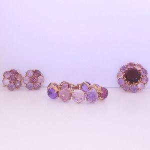 Vintage Jewelry Set Clip-on Earrings Bangle